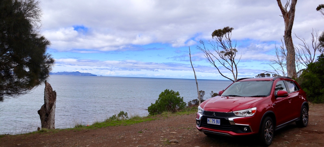My Hyundai ASX rental at a lookout with Freycinet in view across the water