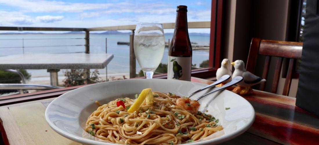 Main meal of Linguine at Saltshaker Restaurant in Swansea, Tasmania