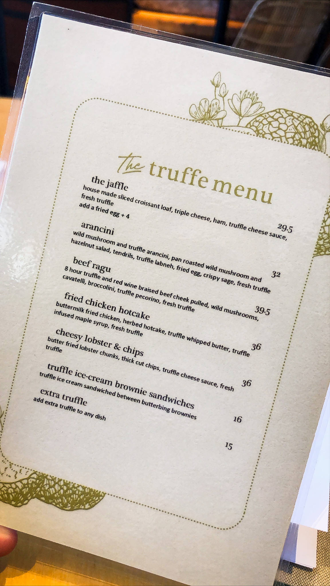 Goodfields Truffle Menu